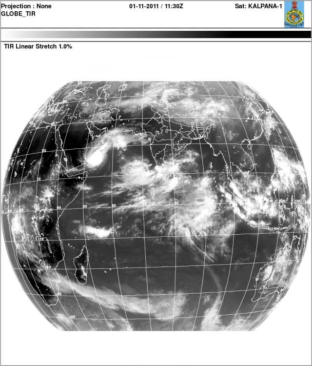India Satellite Images 01 Nov 2011 Monsoon Clouds Over