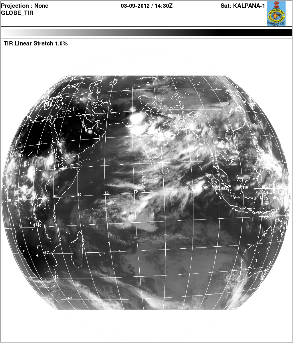 Indian Weather Satellite Images 03 Sep 2012 Evening