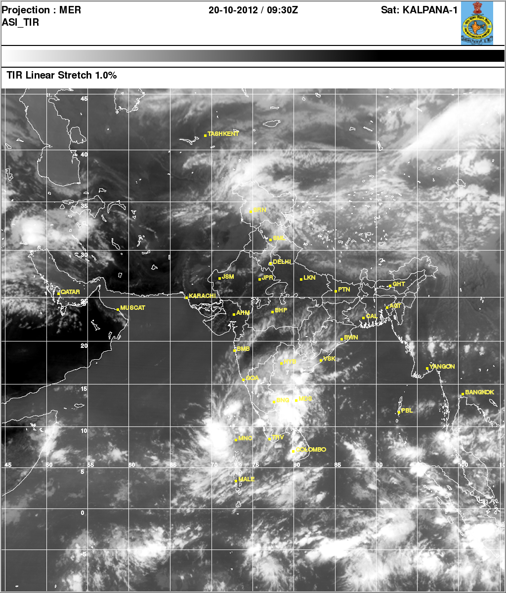 Indian Satellite Images as on 20 October